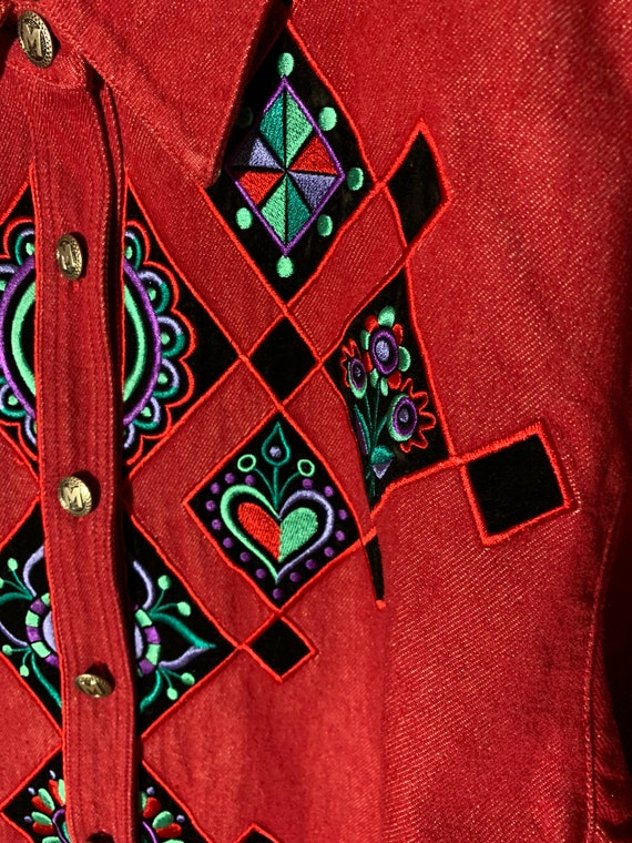 Vintage western Embroidered blouse - image 6