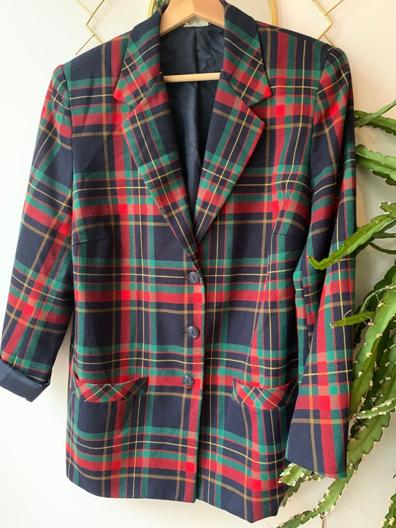 Vintage tartan oversized blazer - image 3
