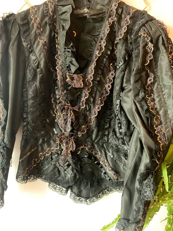 Vintage ruffle lace black and gold blouse