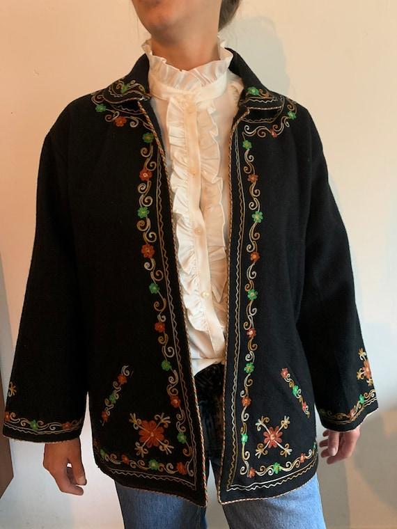 Vintage wool Embroidered coat - image 7