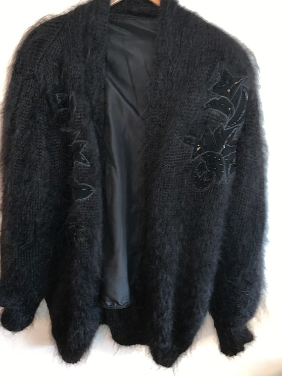 Vintage black embroidered oversized cardigan