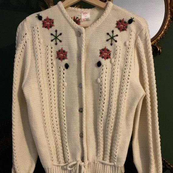 Vintage wool folkore Embroidered cardigan