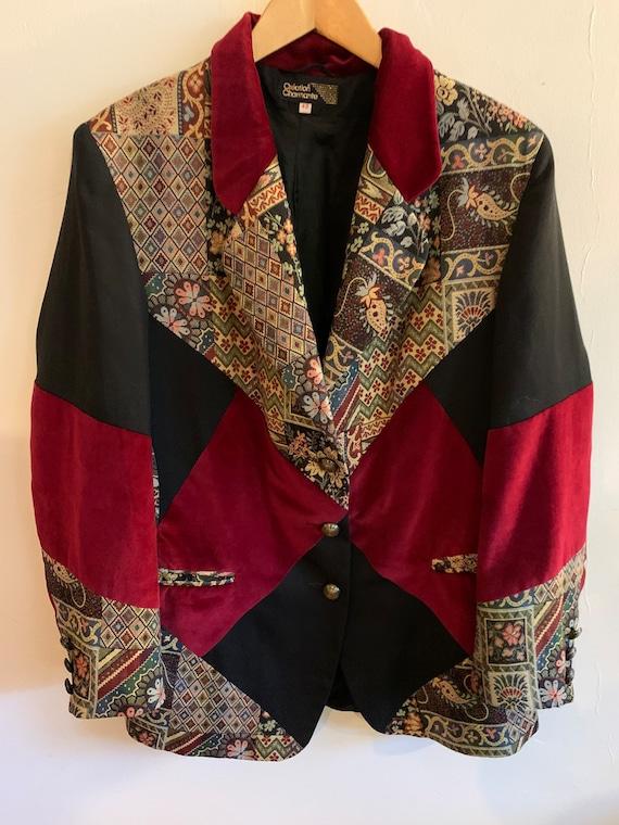 Vintage velvet patchwork blazer