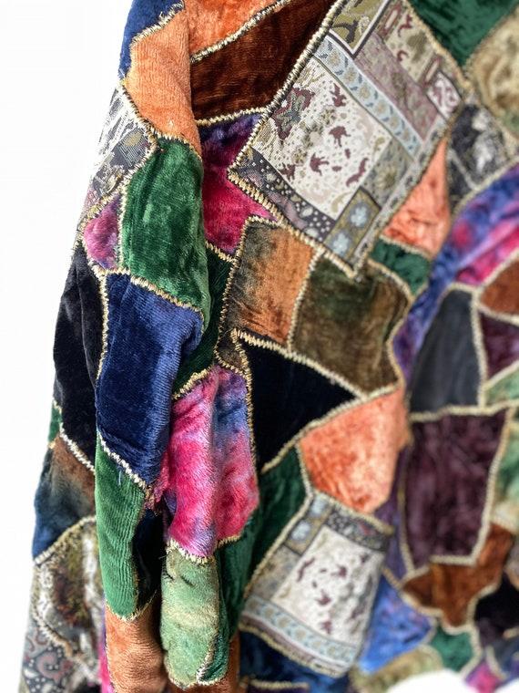 Vintage velvet patchwork 70s jacket - image 4