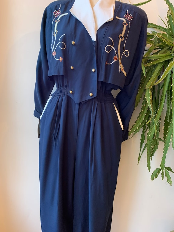 Vintage navy blue jumpsuit