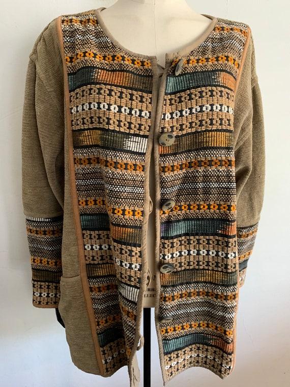 Vintage velvet ikat cardigan /jacket