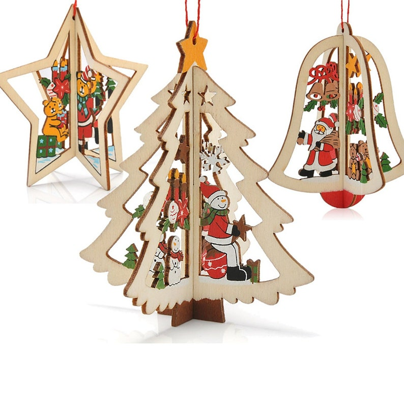 Diamond 1pc Christmas Sled Wooden Pendants Ornaments Santa Claus Snowman Xmas Tree Ornament For Home Christmas Party Decorations
