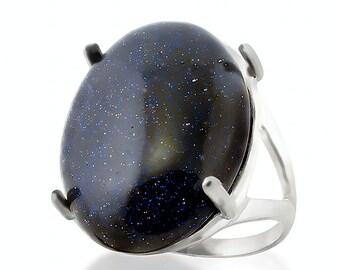 Sterling Silver Blue Aventurine Ring