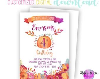 Fall birthday invite etsy fall birthday invitation with pumpkins and autumn flowers filmwisefo