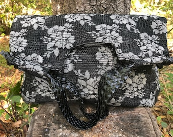 Floral Brocade Hobo Handbag