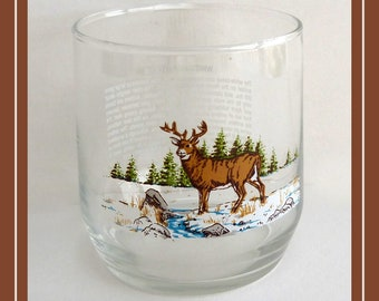 Vintage North American White Tailed Deer Drinking Glass with History