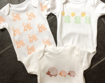 Age 6-9 mths set of 3 individually designed handprinted baby vests using Indian wooden block stamp and water based fabric paint