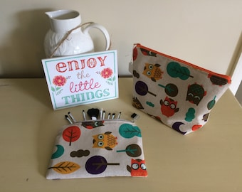 Ollie Owl individually handmade pencil case style makeup brush & large cosmetic bag set
