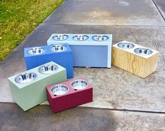 Large 3 Bowl Dog Feeder - 2 or 3 Dog Feeder