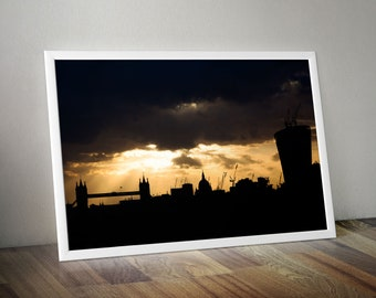 Silhouette of London City Skyline with St. Paul's Cathedral and Tower Bridge. Large Oversized Photo Artwork