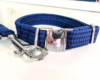 Blue Houndstooth Dog Collar
