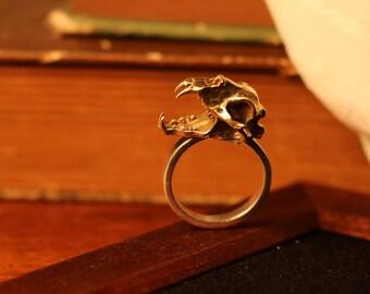 Sterling Silver Handmade Brass Rhino Head Ring