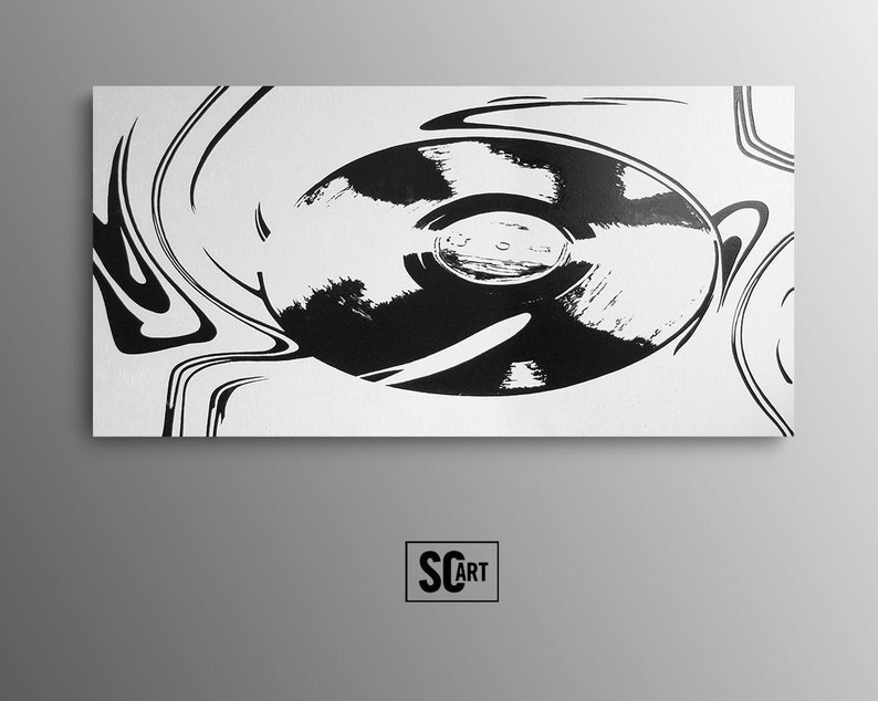Black And White Painting Music Wall Art Canvas Art For Musicians Large Minimalist Painting On Canvas Gift For Dj Art Vinyl Record Painting