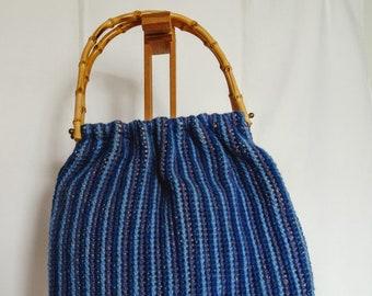Vintage 70s Crochet Wooden Handle Purse