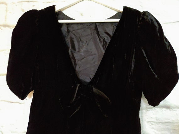 Vintage Lanz Black Velvet Dress with Deep V and Bo