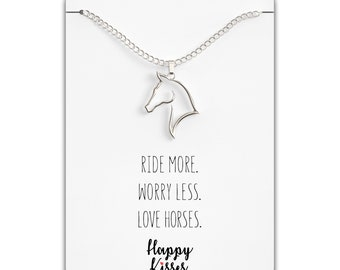 ef343cf5a84 Horse Necklace – Horse Gift for Horseback Riders – Cute Outline Pendant for  Women / Girls - Sweet Message Card - Silver, Gold & Rose Gold
