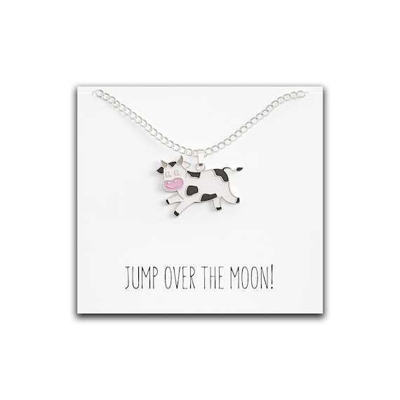 Cow on Moon Cow on Moon Pendant Cow on Moon Chunky Necklace Cow Necklace