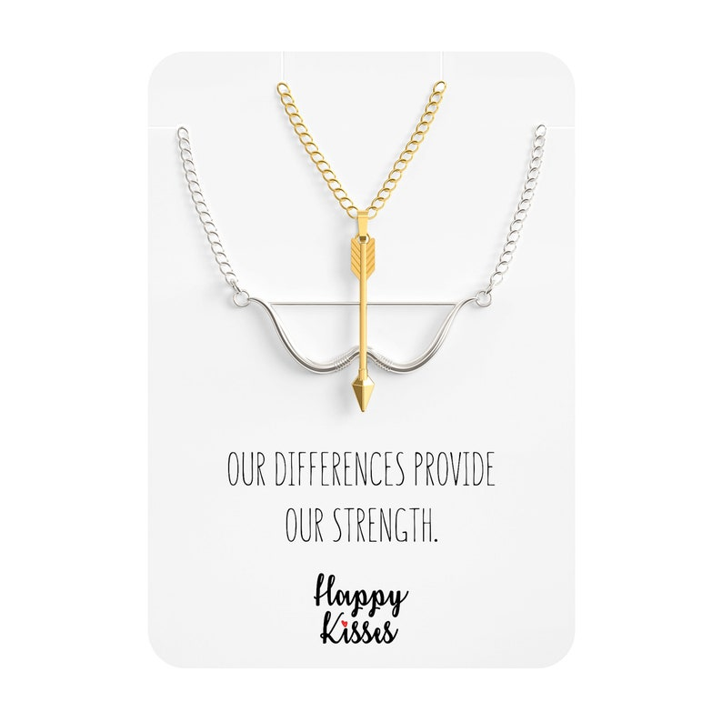 Bow /& Arrow Necklace BFF Pendant \u2013 Relationship Mens and Womens 2 Matching Charms