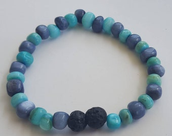 Ocean colored beads essential oil diffuser bracelet