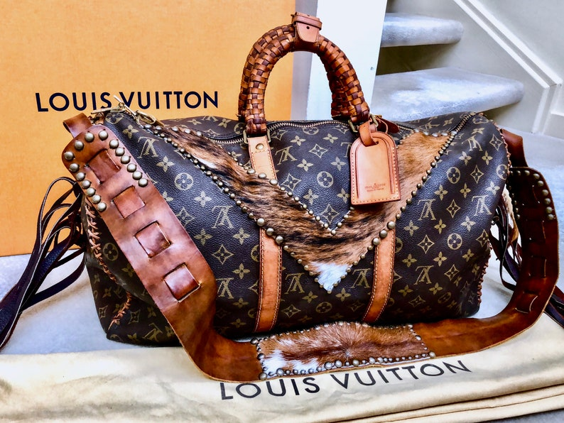 6b10cf7711 AUTENTICA Louis Vuitton Keepall su misura per te Frangia di | Etsy