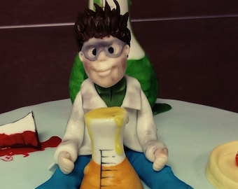 Scientific Boy Personalized Cake Topper Handmade Edible Birthday Decoration Party Theme Any Occasion
