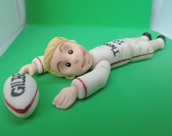 Rugby Player Cake Topper Handmade Edible Personalised Birthday Sport Party Theme Decoration Any Occasion