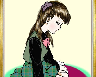 Original digital soft use hand drawn illustration schoolgirl