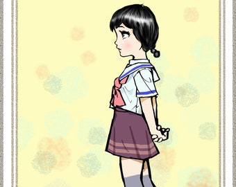 Original Illustration High School Girl Black Hair Cartoon Hero Etsy