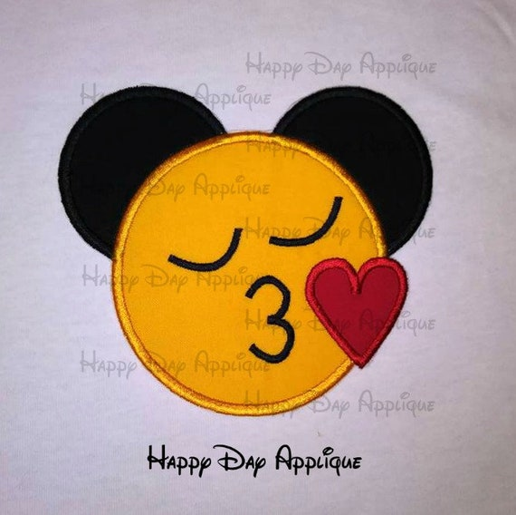Mickey Mouse Kiss Heart Lips Love Emoji Applique Design 5x7 and 6x10  Instant Download Happy Day Applique
