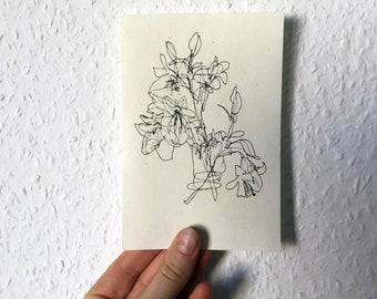 Fineliner illustration//din A6//print//Lily Flowers
