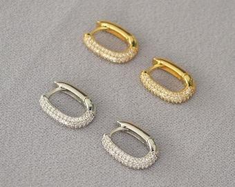 17mm 18K Gold Plated Rectangle Hoops (A Pair), CZ Sparkly Gold Oblong Earrings, CZ Gold Oval Hoop Earrings, Dainty Hoop Earrings,