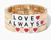 Love Enamel Tile Beads, Colorblock Bracelets, Enamel Beads, Trendy Tila, Stretch Bracelets, Bohemian Bracelets, Tile Beads, Gift for her