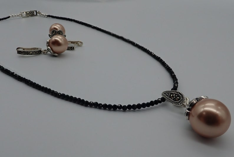 fc6628df8de48 Black spinel, rose gold Swarovski pearls and natural marcasite necklace and  earrings set