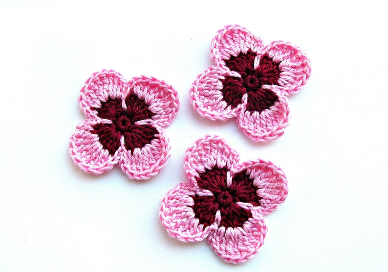 Handmade Crochet Butterflies x 5 in pink and white applique//embellishments