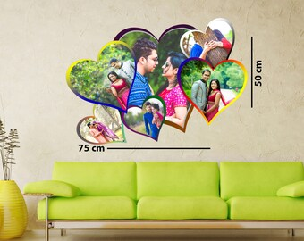 personalized heart shape wood collage