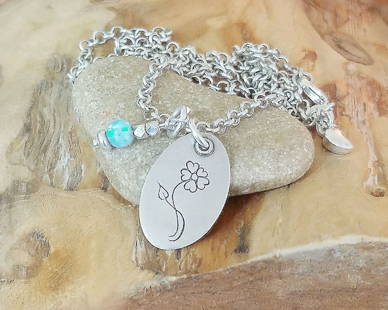 Choose Your Own Gemstone Charm Free Shipping Karen Hill Tribe Bead Charm Sterling Silver Necklace With Flower Pendant and Gemstone Charm