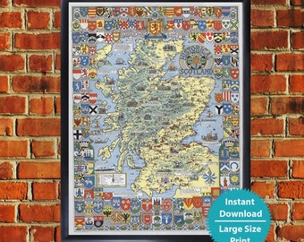 Map of scotland | Etsy