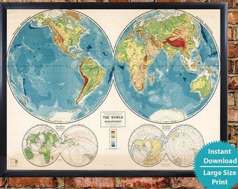 Kids world map   Etsy