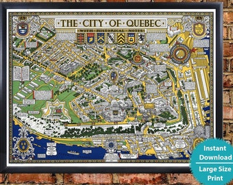 Quebec city map | Etsy on