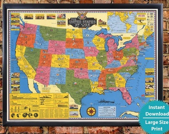 Detailed Map Of The United States Of America.Us Map Etsy