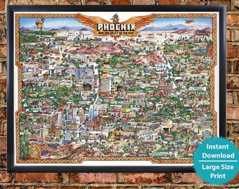 Map Of Phoenix Arizona.Phoenix Map Etsy