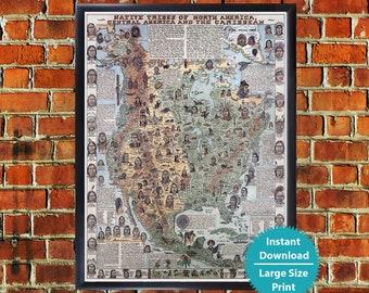 Native american map | Etsy