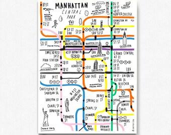 Manhattan Map Etsy - Printable map of manhattan ny