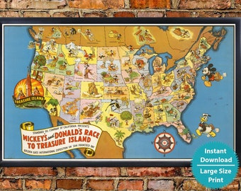 Map Of America Looks Like A Duck.Usa Fantasy Map Etsy