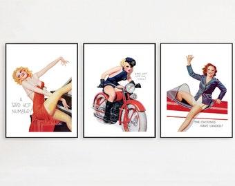 Retro pin up girls, vintage pin up models 1950s pin up girl photos vintage art print retro poster women original wall poster old pinup girl